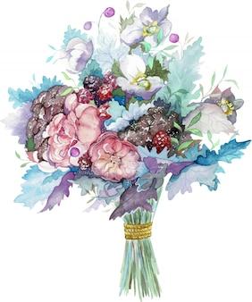 赤い果実と青い葉のバラの花の水彩画の花束。手描きイラスト。