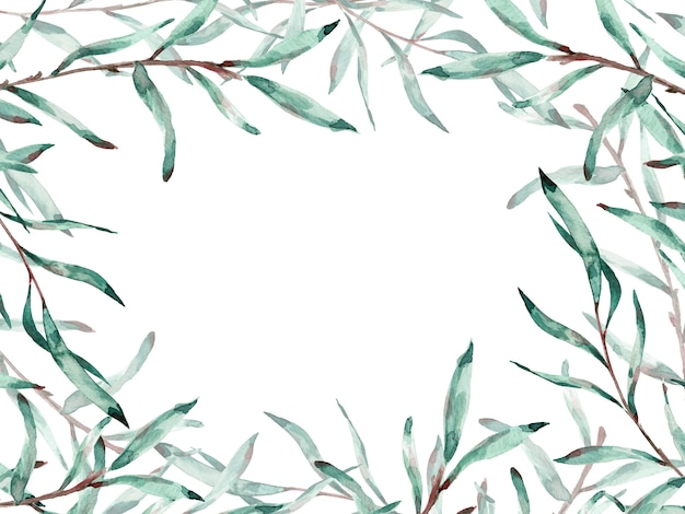 コピースペースを持つネコヤナギの枝の水彩画フレーム。図。