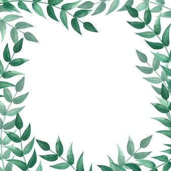 緑の葉と正方形のフレーム。水彩イラスト。