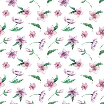 白い背景にシームレスな水彩花柄