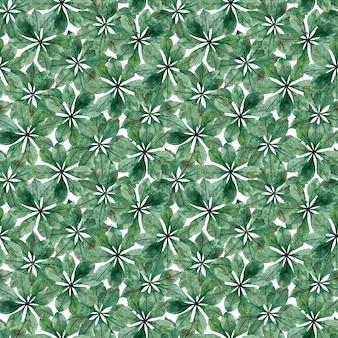 栗の円形の葉のシームレスパターン