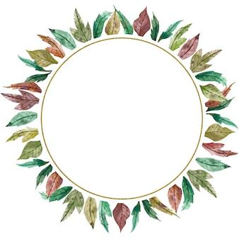 秋のシーズン水彩円形フレーム