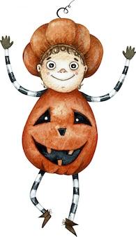 オレンジ色のカボチャの衣装で踊る水彩かわいい漫画少年