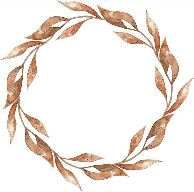 分離された長い葉と秋の明るいオレンジ色の枝の水彩花輪