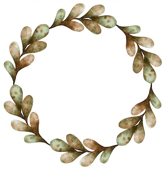 分離された秋の明るい緑と茶色の葉の水彩画の花輪