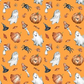 オレンジ色のハロウィーンのお菓子と水彩のシームレスパターン