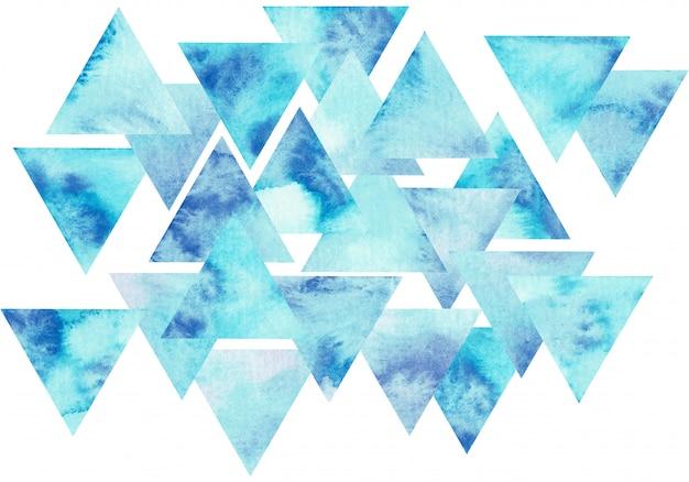 青い水彩三角形構成。抽象的な手描きイラスト。