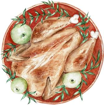 感謝祭の日の水彩焼き七面鳥