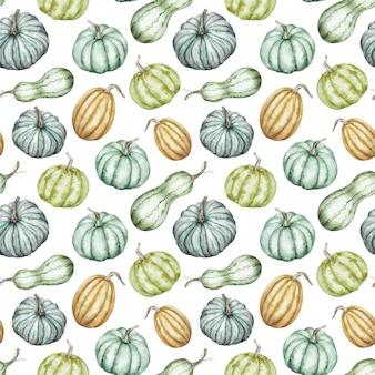 カラフルなカボチャの水彩画のパターン。秋の背景。感謝祭、ハロウィーンの植物図。