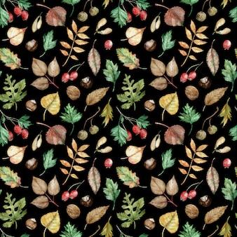 木の種子、ナッツ、オーク、カバノキ、ポプラ、灰の葉、サンザシの果実の水彩手描き秋パターン。