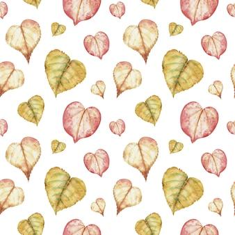 Акварельный рисунок из красочных осенних листьев в форме сердца на белом