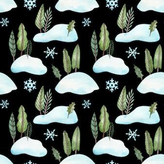雪だるまに立っているクリスマスツリーとのシームレスなパターン。