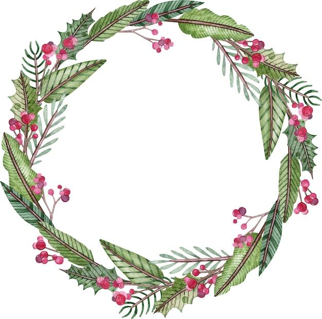 Акварельный рождественский и новогодний венок
