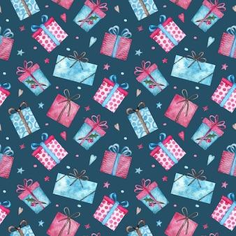 かわいいクリスマスプレゼントのシームレスパターン