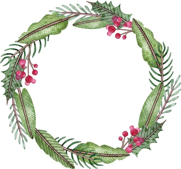 水彩のクリスマスと新年の花輪