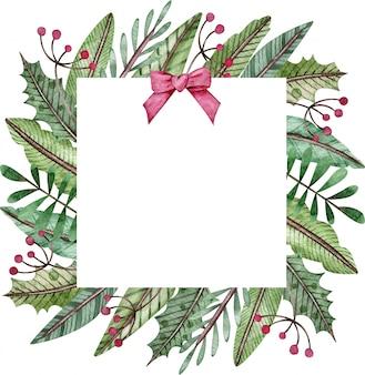 水彩のクリスマスと新年の正方形のフレーム