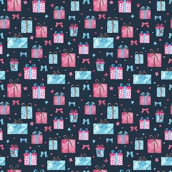 クリスマスプレゼントのシームレスなパターン。青い背景の星とピンクとブルーのギフトボックスの水彩イラスト。