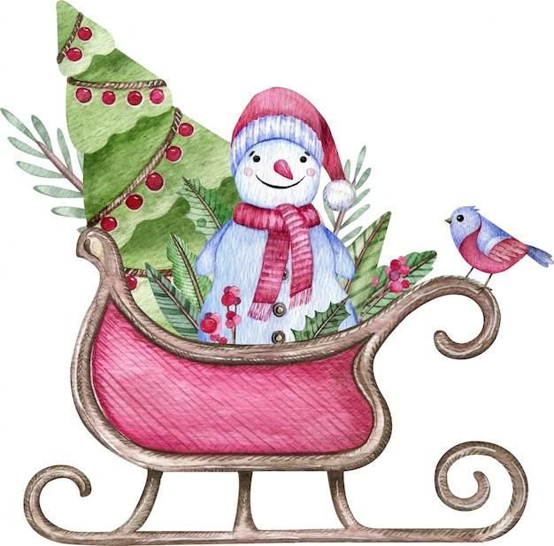 雪だるま、木、白で隔離される深紅色の鳥とサンタのそり。水彩のクリスマスイラスト。