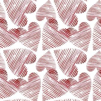 水彩心のシームレスな背景。ピンクの水彩心パターン。カラフルな水彩画のロマンチックな質感。 - イラスト