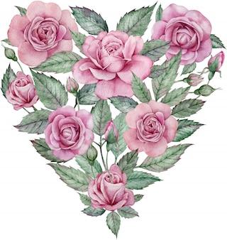 Акварельное сердце из розовых роз и зеленых листьев