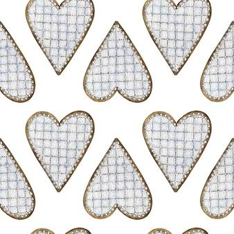 水彩のハート形のジンジャーブレッドクッキーのシームレスパターン