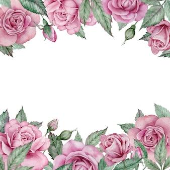 ピンクのバラのフレーム。水彩の手描きの正方形の花の結婚式のフレーム。バレンタインデーのフレーム