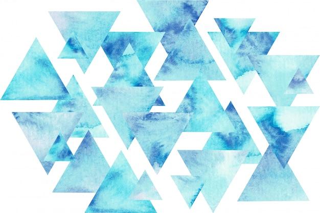 青い三角形の水彩組成物。抽象的な手描きイラスト。