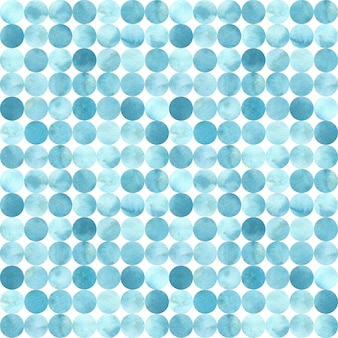 青、ランダムサークルタイル、シームレスパターンの色合い。水彩イラスト。