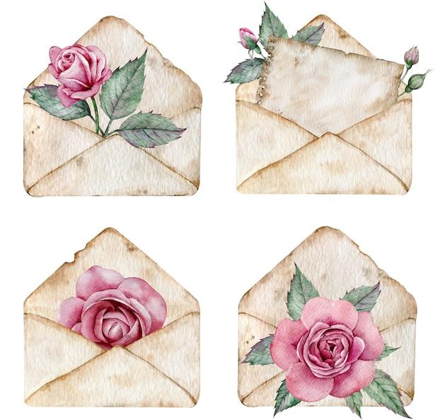 ピンクのバラと緑の葉のヴィンテージの茶色の封筒。文字の水彩イラスト。