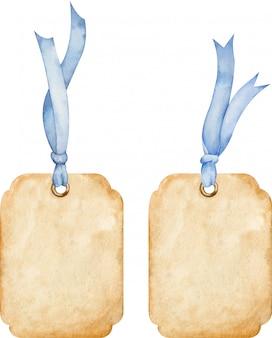 Набор ценников коричневой бумаги с синими лентами. акварельные иллюстрации