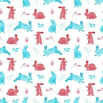 白い背景で隔離のウサギのシームレスパターン。水彩のイースターイラスト。