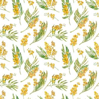 ミモザの枝とのシームレスな春のパターン。水彩の黄色い花