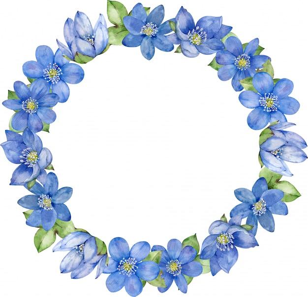 青い花のフレーム。結婚式の招待状と誕生日カード。手描きの水彩イラスト。