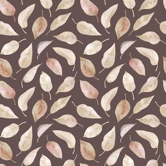 黄金色の葉、クリーミーな葉の手描きイラストと葉の水彩のシームレスなパターン。