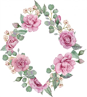水彩花のフレーム。ピンクのバラとユーカリの枝