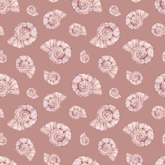水彩の海のシェルパターン。ピンクの海の生命の壁。