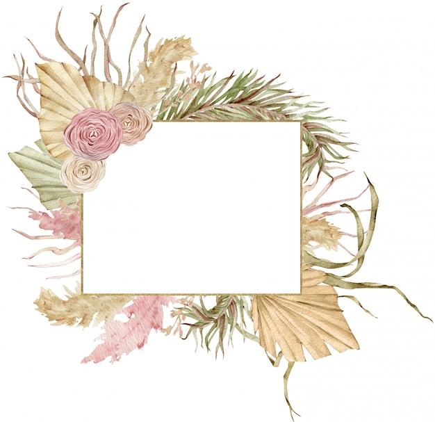 乾燥したヤシの木の葉とバラと水彩の黄金の熱帯フレーム。チークカラーとベージュカラー。自由奔放に生きる結婚式のデザイン。