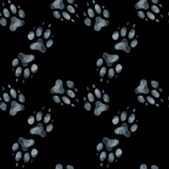 犬の足跡のシームレスパターン。水彩イラスト。
