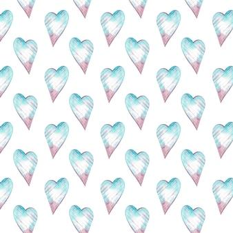 青とピンクの心を持つ水彩画のシームレスなパターン。ロマンチックな背景