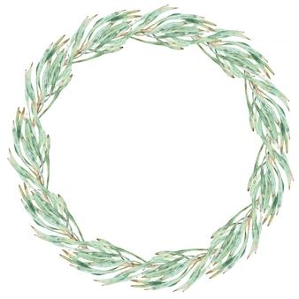 プロテアの水彩画の緑の花輪を残します。白で隔離ラウンドフレーム。