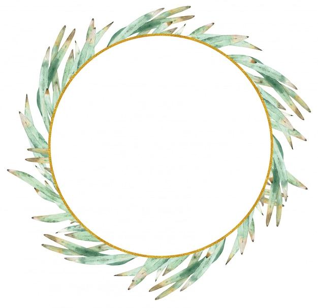 プロテアの水彩画の緑の花輪を残します。