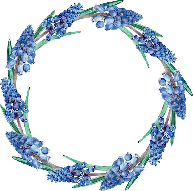 水彩ダークブルー花柄ラウンドフレーム。