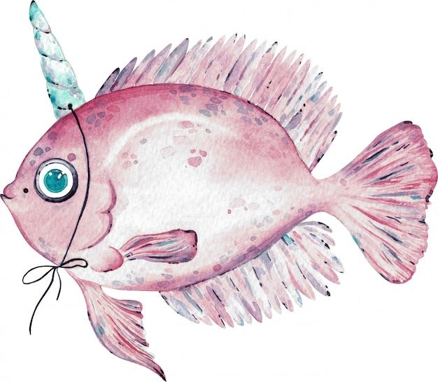 Акварельные иллюстрации розовых рыб с рогом на голове, изолированных на белом