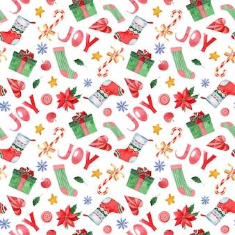 クリスマスの水彩画のシームレスパターン