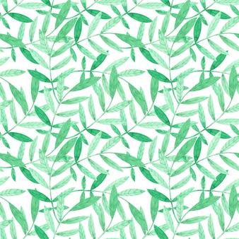 白地に緑の枝と水彩のシームレスパターン