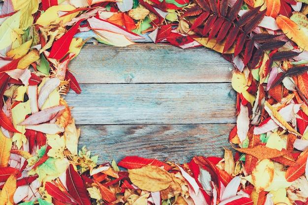 コピースペースを持つ明るい色の紅葉のフレームと木材
