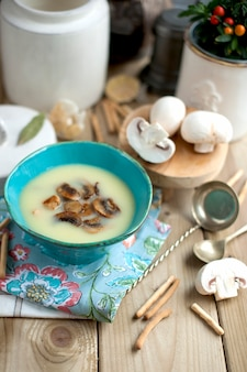 青い皿にシャンピニオンとキノコのスープ