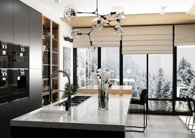 暗い色と明るい色のモダンなスタイルのキッチン。インテリア。