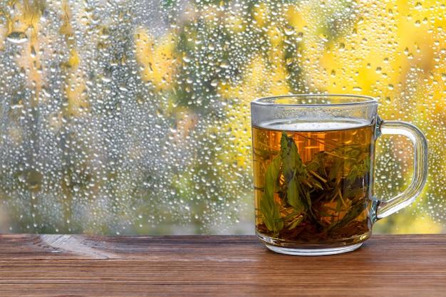 秋の雨滴ウィンドウの前にミントティーのカップ。