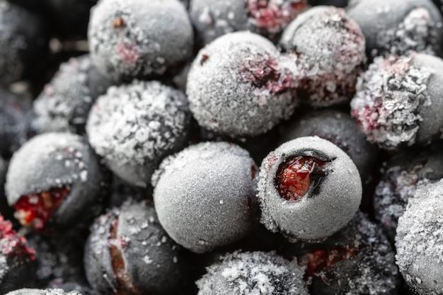 熟した冷凍甘い黒スグリ、ブラックカラント、霜とヨシュタ。自然の有機健康食品。